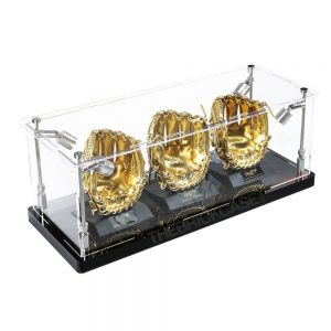 Mini Baseball Gloves Display Case - Side View BC0301-SPRW